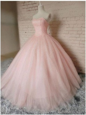 Gown Sleeveless Prom Chic Pink Dresses Ball Sweetheart  Princess Dresses_4