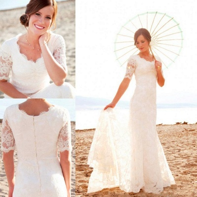 Scoop-Neck Short-Sleeves Sheath Style Lace Sweep Train Chic Wedding Dress_3