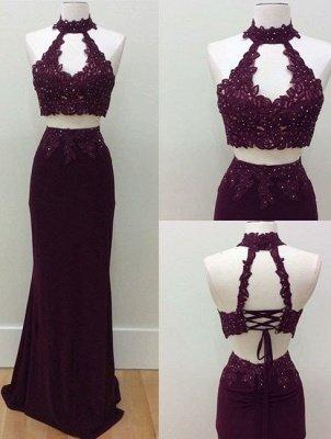 Lace-Up Sheath Lace Keyhole-Neck Beading Two-Piece Prom Dresses_2