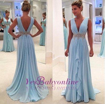 Appliques V-Neck Ruffles Glamorous Sleeveless Blue A-Line Prom Dresses_1