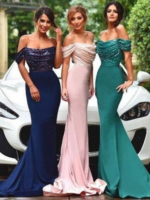 2019 Off the Shoulder Bridesmaid Dresses | Sequins Top Sexy Wedding Guest Dress_1