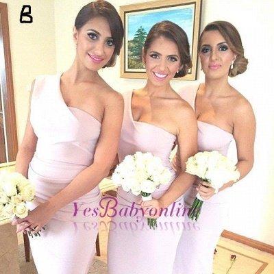Long Hi-Lo Modest A-line One-Shoulder Sleeveless Bridesmaid Dress_1