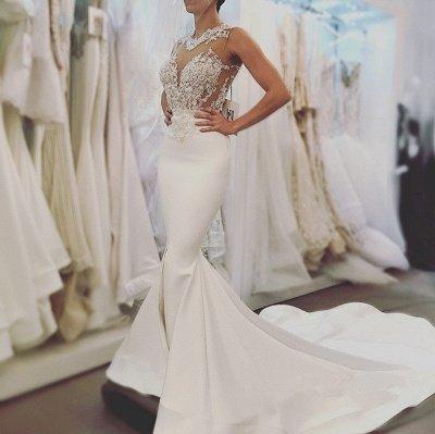 Glamorous Mermaid Backless Wedding Dresses | Zipper Sleeveless Appliques Bridal Gowns_4