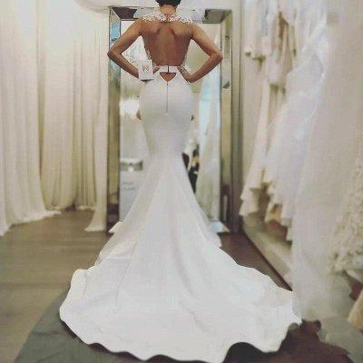 Glamorous Mermaid Backless Wedding Dresses | Zipper Sleeveless Appliques Bridal Gowns_3