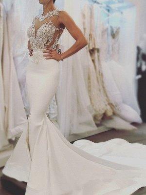 Glamorous Mermaid Backless Wedding Dresses | Zipper Sleeveless Appliques Bridal Gowns_1