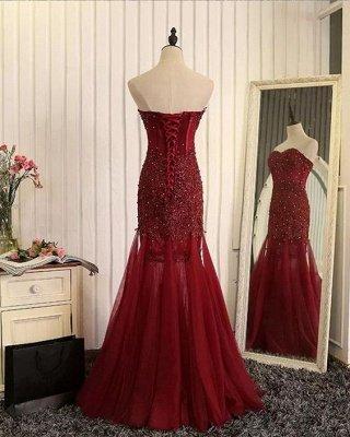 Beaded Brilliant Sweetheart  Sleeveless Mermaid Lace-Applique Prom Dresses_3